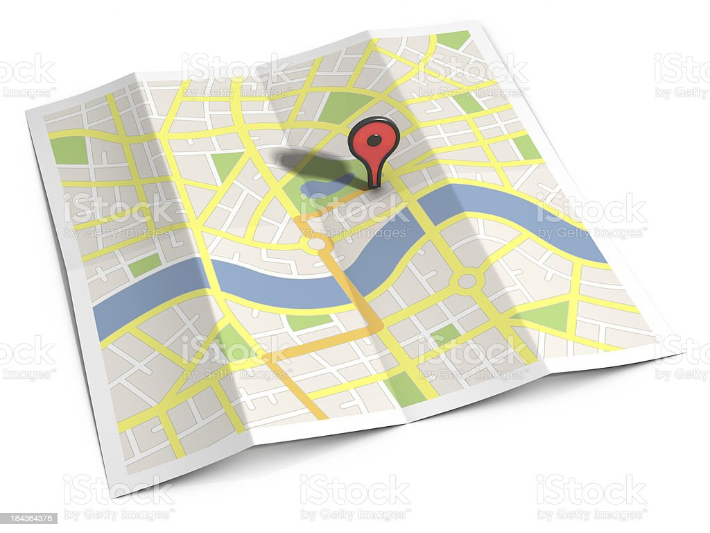 Streetmap route & location marker stock photo