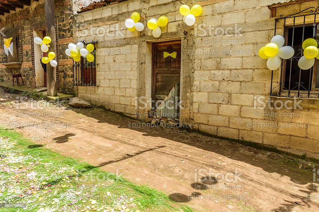 Streets adorned for St John's Day procession, Guatemala stock photo