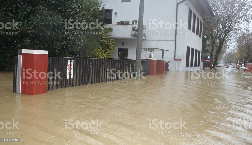 Streets and courtyards of the House invaded by mud royalty-free stock photo