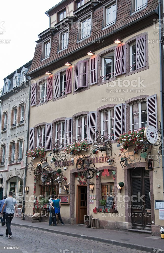 Streets and facades of houses in Colmar, France stock photo