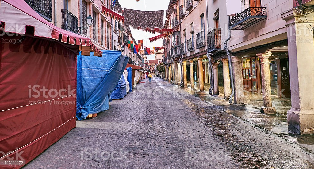 Streets and Medieval Fair (closed) in Alcala de Henares, stock photo