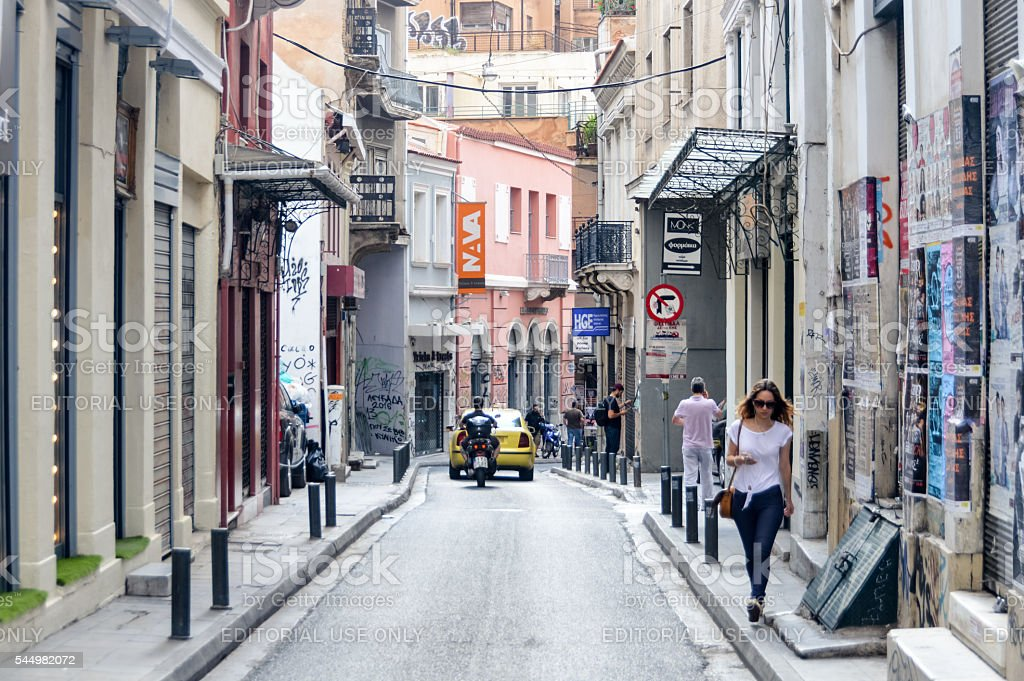 Streets and neighborhoods of Athens, Greece stock photo