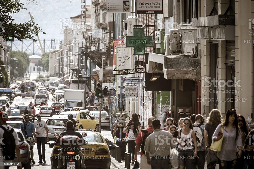 Streets and neighborhoods of Athens, Greece stock photo