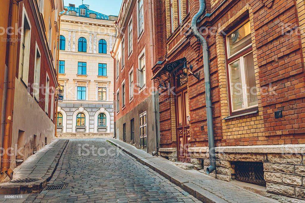 Streets And Old Part City Architecture Estonian Capital, Tallinn stock photo