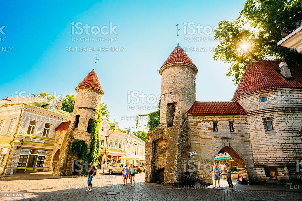 Streets And Old Town Architecture Estonian Capital, Tallinn, stock photo