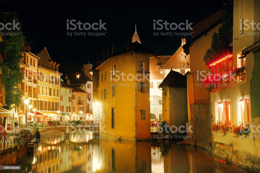Streets, bridge, canal and Thiou river in Annecy stock photo