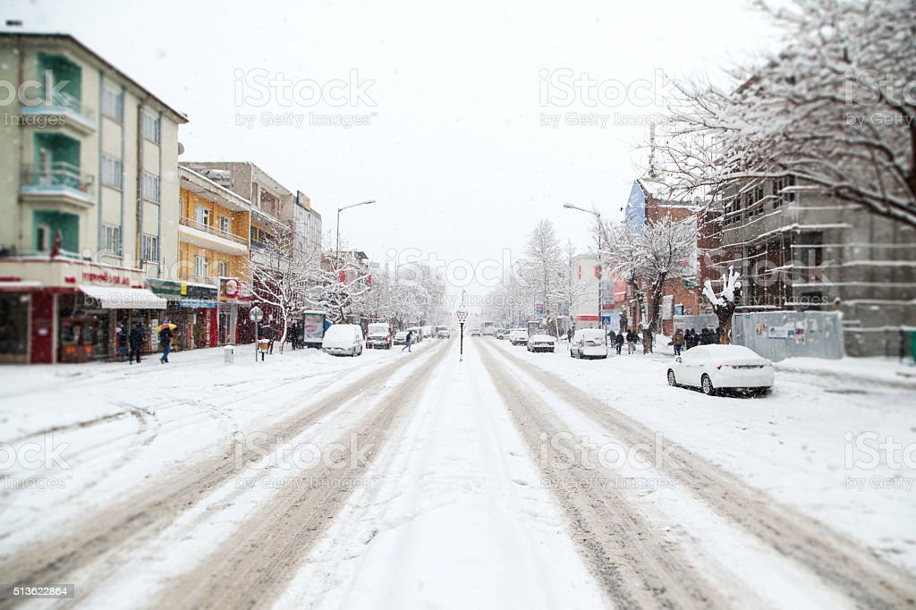 Streets covered with snow after snowfall stock photo