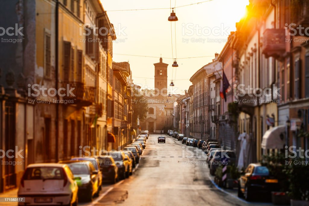 Streets in the city of Cremona, Italy stock photo