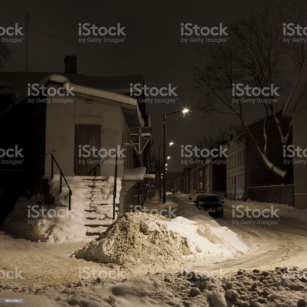 streets in winter stock photo