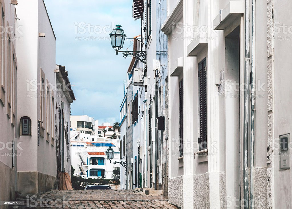 Streets of Albufeira, Algarve. stock photo