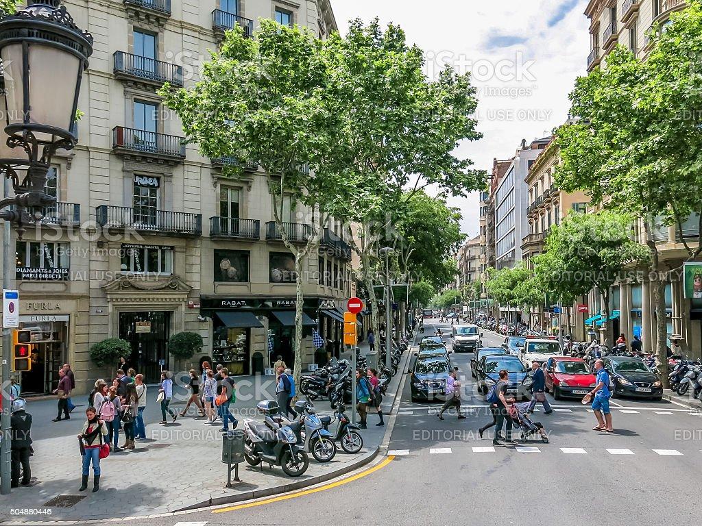 Streets of Barcelona, Spain stock photo
