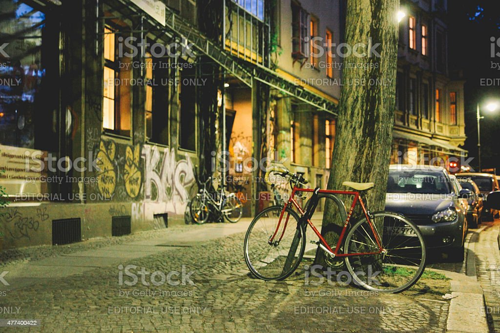Streets of Berlin at night stock photo