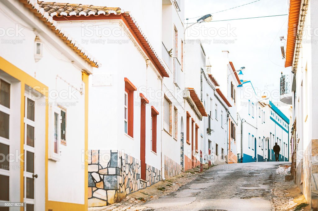 Streets of Burgau, Algarve. stock photo