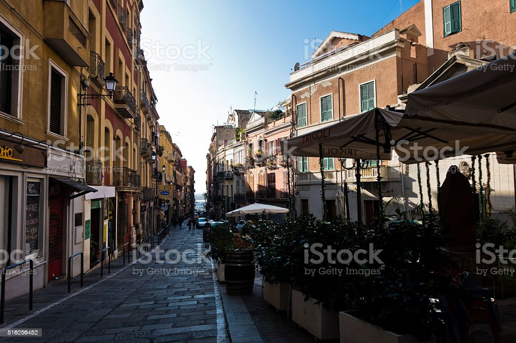 Streets of Cagliari downtown in Sardinia stock photo