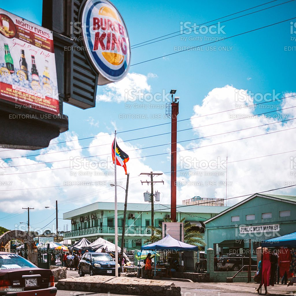 Streets of Caribbean town. St John's, Antigua & Barbuda. stock photo