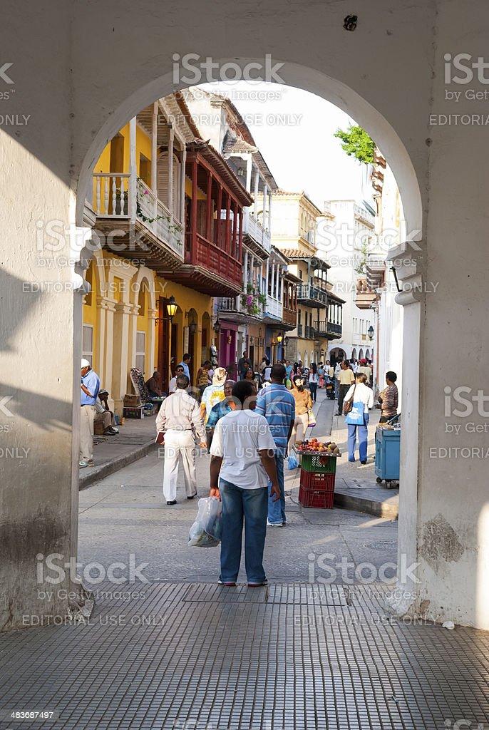 Streets of Cartegena Colombia royalty-free stock photo