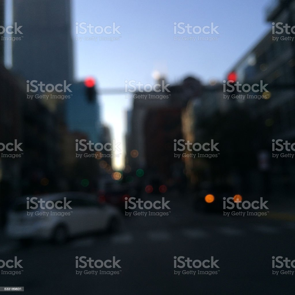 Streets of Chicago in evening stock photo