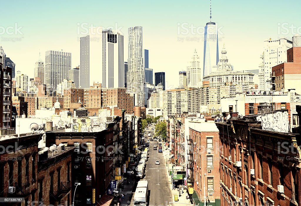 Streets of Chinatown, Freedom Tower, Lower Manhattan, NYC stock photo