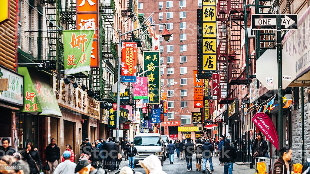 Streets of Chinatown in New York City. stock photo