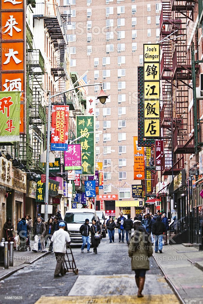 Streets of Chinatown in New York. stock photo