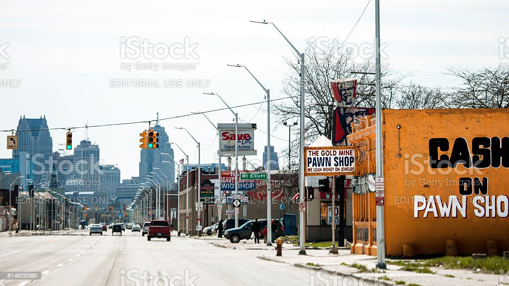 Streets of Detroit, Gratiot Avenue. stock photo