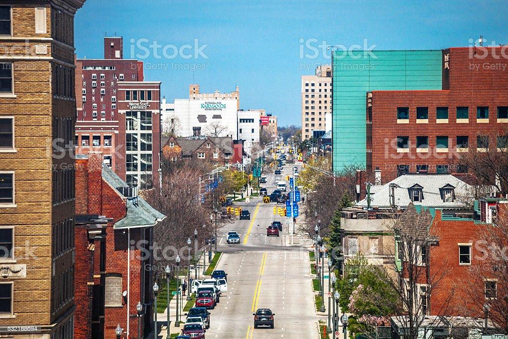 Streets of Detroit, Michigan. stock photo