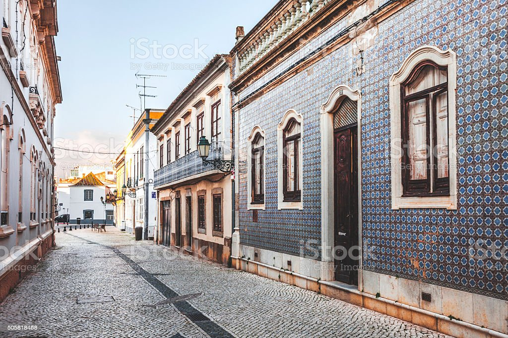 Streets of Faro, Algarve. stock photo