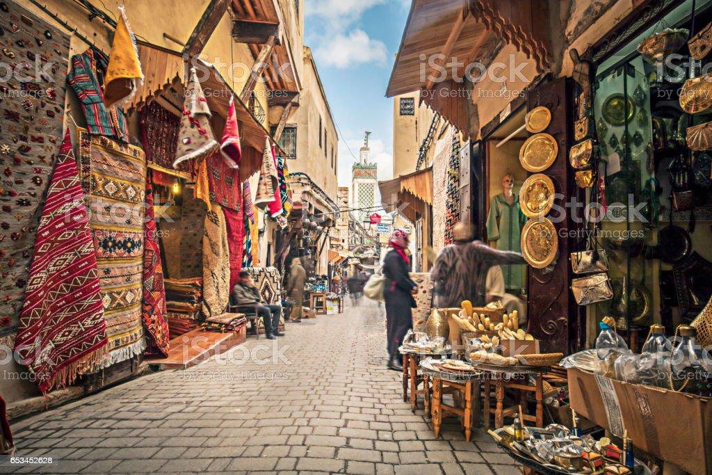 Streets of Fez stock photo