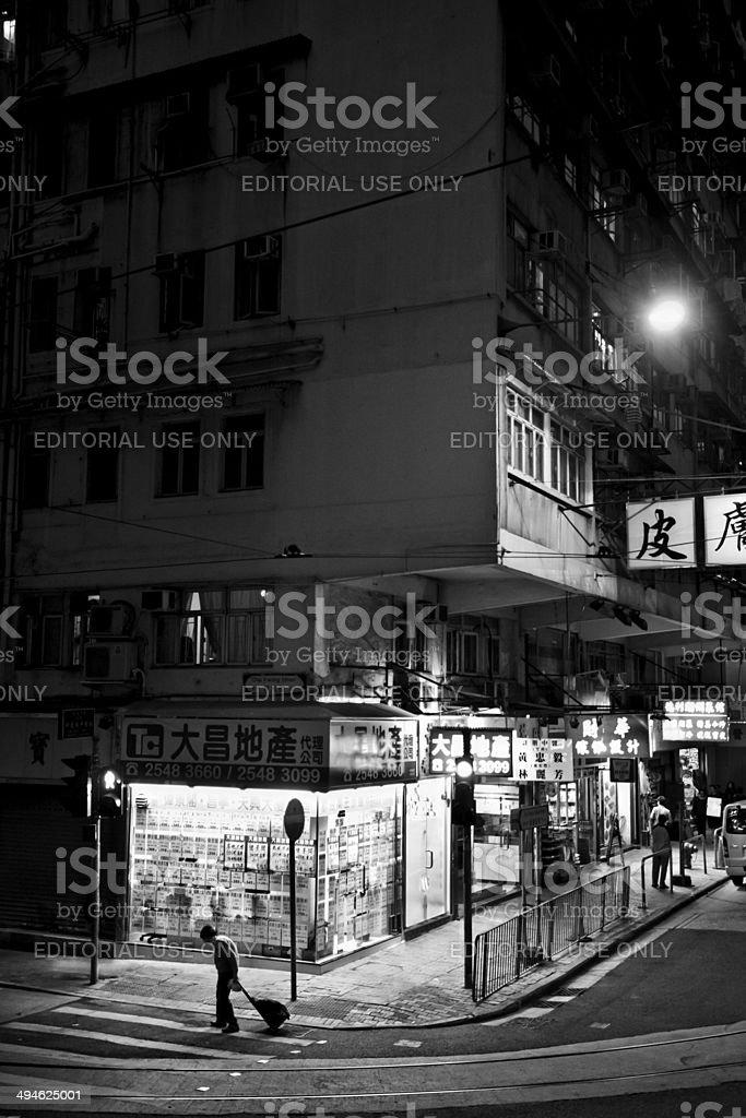 Streets of Hong Kong at night stock photo