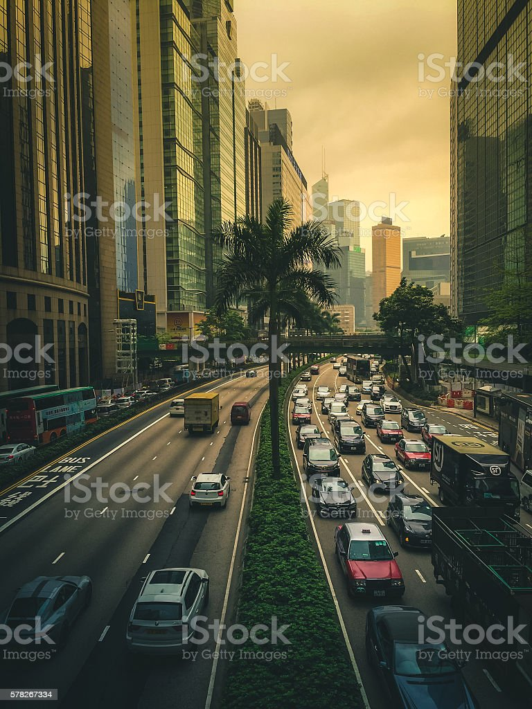 Streets of Hong Kong on Hong Kong Island royalty-free stock photo