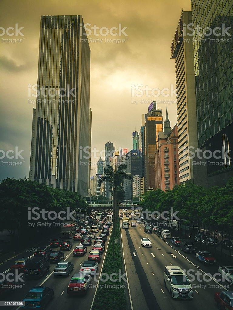 Streets of Hong Kong on Hong Kong Island royalty-free stock photo