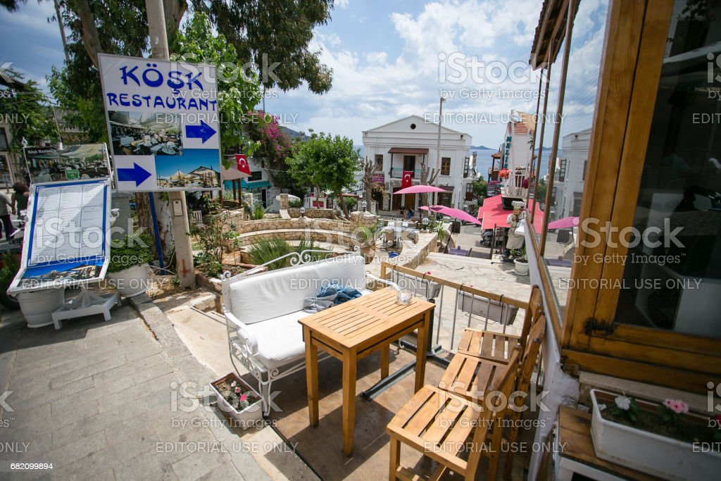 Streets of Kalkan resort town of Turkey stock photo