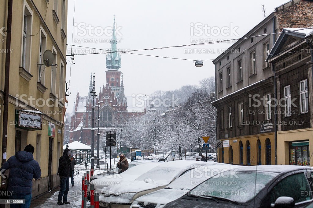 Streets of Kazimierz  quarter, is a historical district of Krakow stock photo