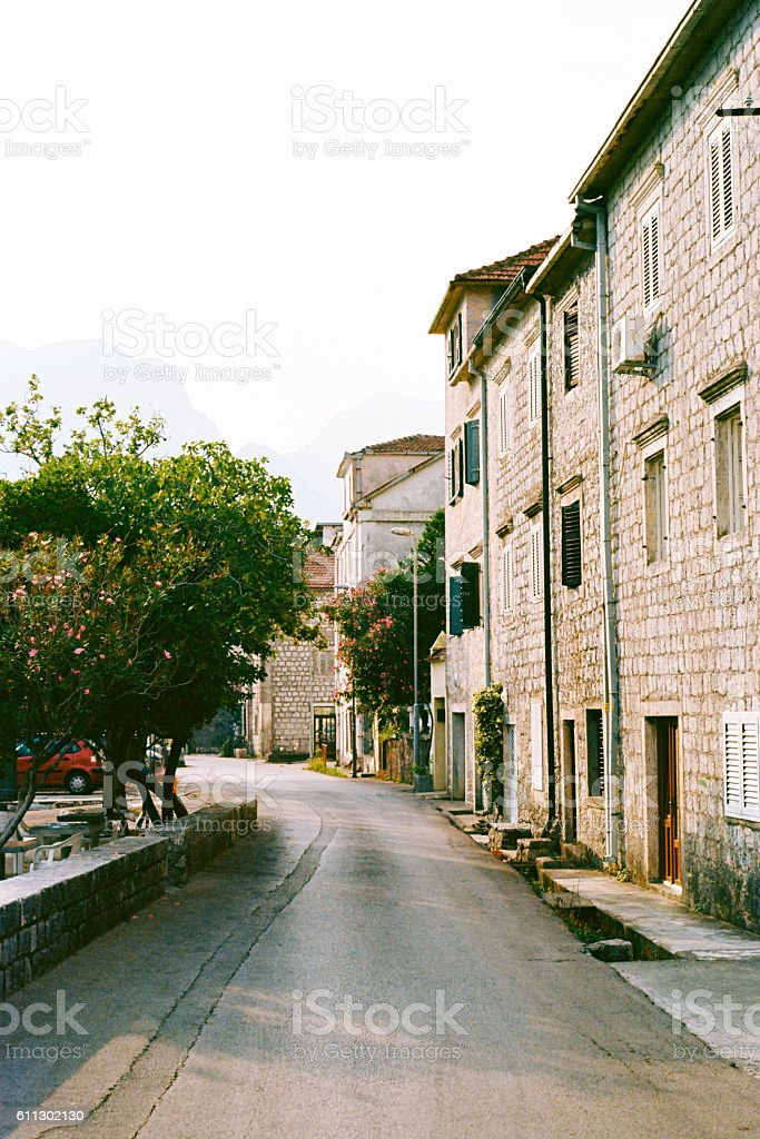 Streets of Kotor stock photo