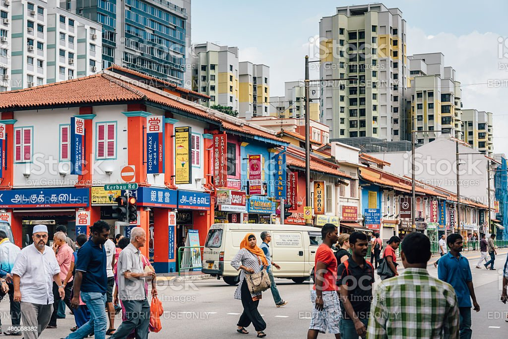 Streets of Little India in Singapore stock photo
