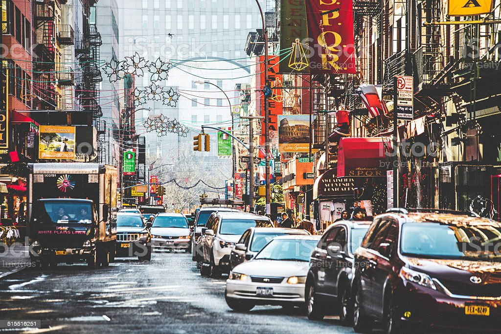 Streets of Little Italy in New York. stock photo