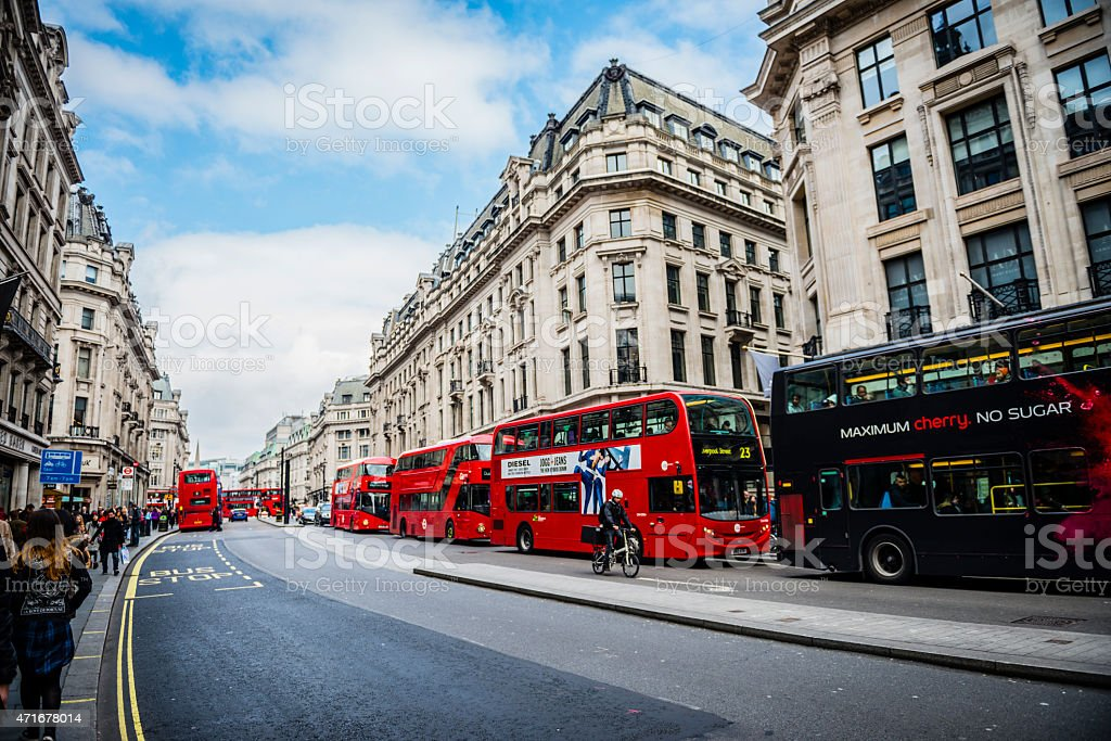 Streets of London with magnificent architectures and iconic skyscrapers stock photo