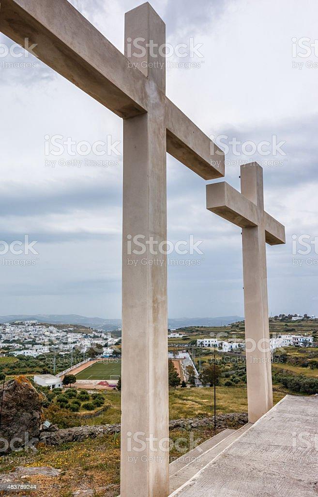 Streets of Milos island, Greece stock photo