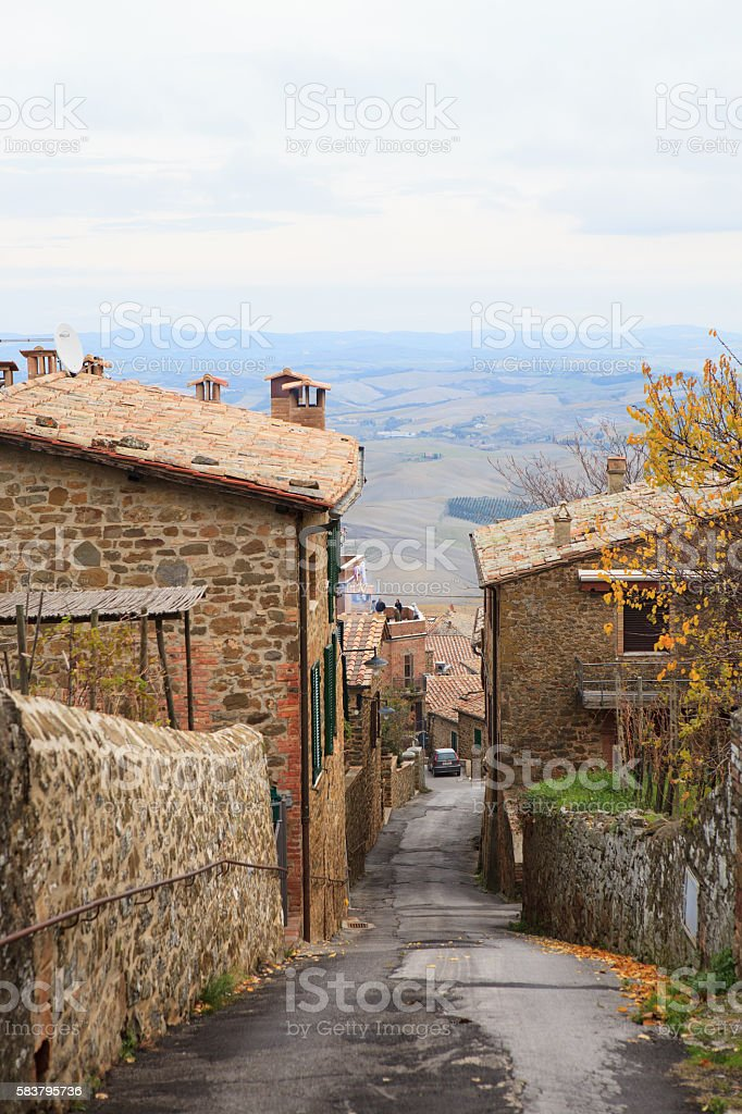 Streets of Montalcino in autumn, Tuscany, Italy stock photo