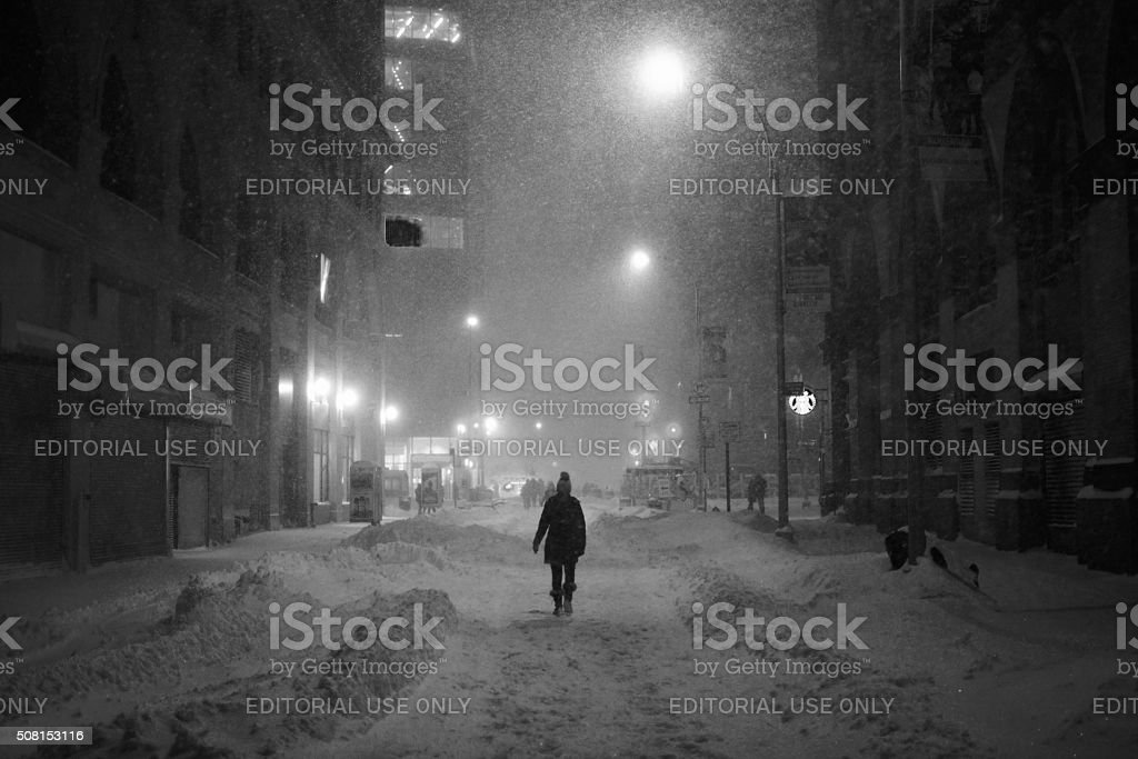 streets of New York in snow blizzard stock photo