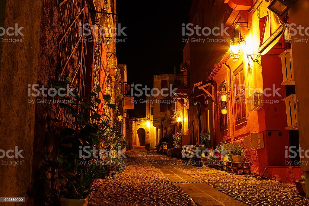 streets of  night city  Rhodes, old part  of city stock photo