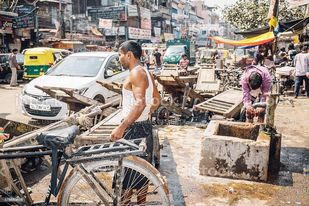 Streets of old Delhi stock photo