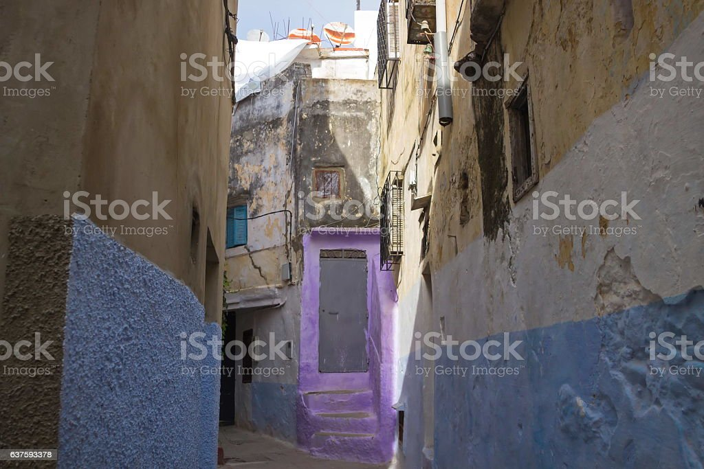 Streets of old Medina  Tanger city, Morocco stock photo