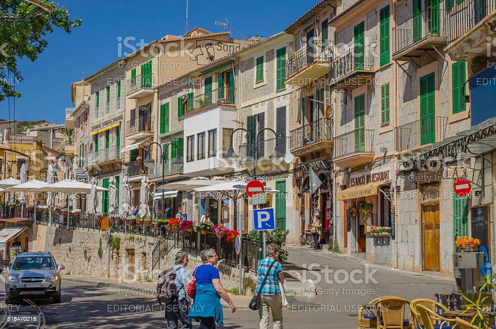 Streets of Puerto de Soller, Majorca stock photo