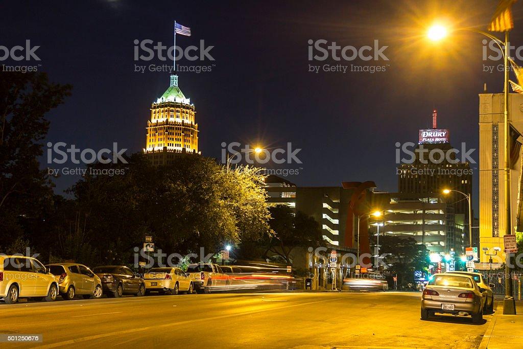 Streets of San Antonio at night stock photo