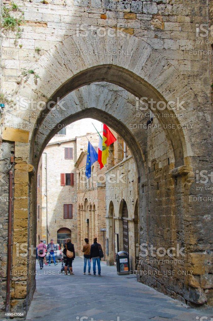 Streets of San Gimignano, Italy stock photo