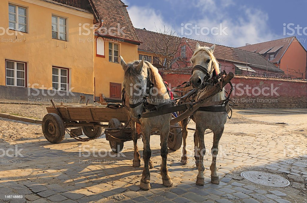 Streets of Sighisoara-Transylvania,Romania stock photo