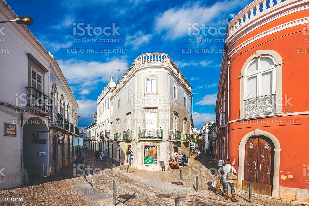 Streets of Tavira, Algarve. stock photo