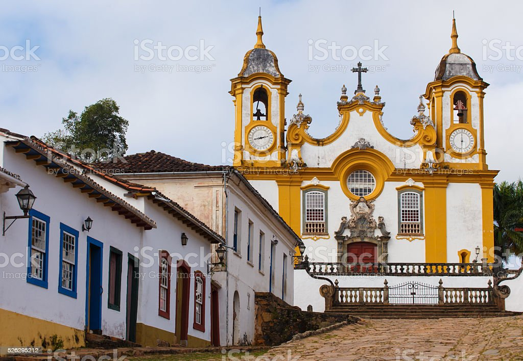 streets of the historical town Tiradentes Brazil stock photo