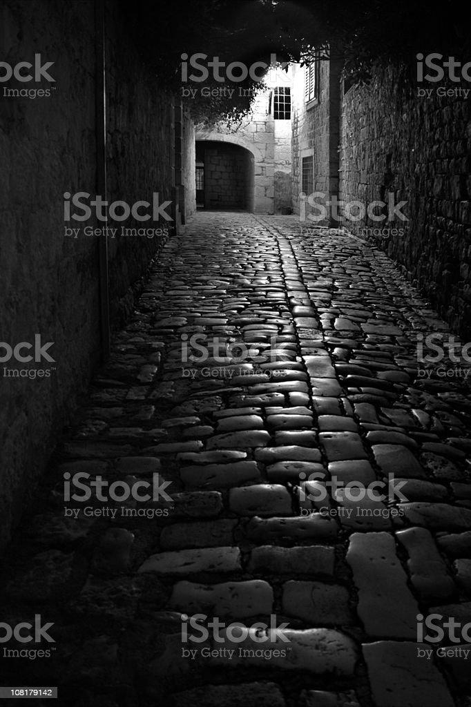 Streets of Trogir in Night time, Croatia stock photo
